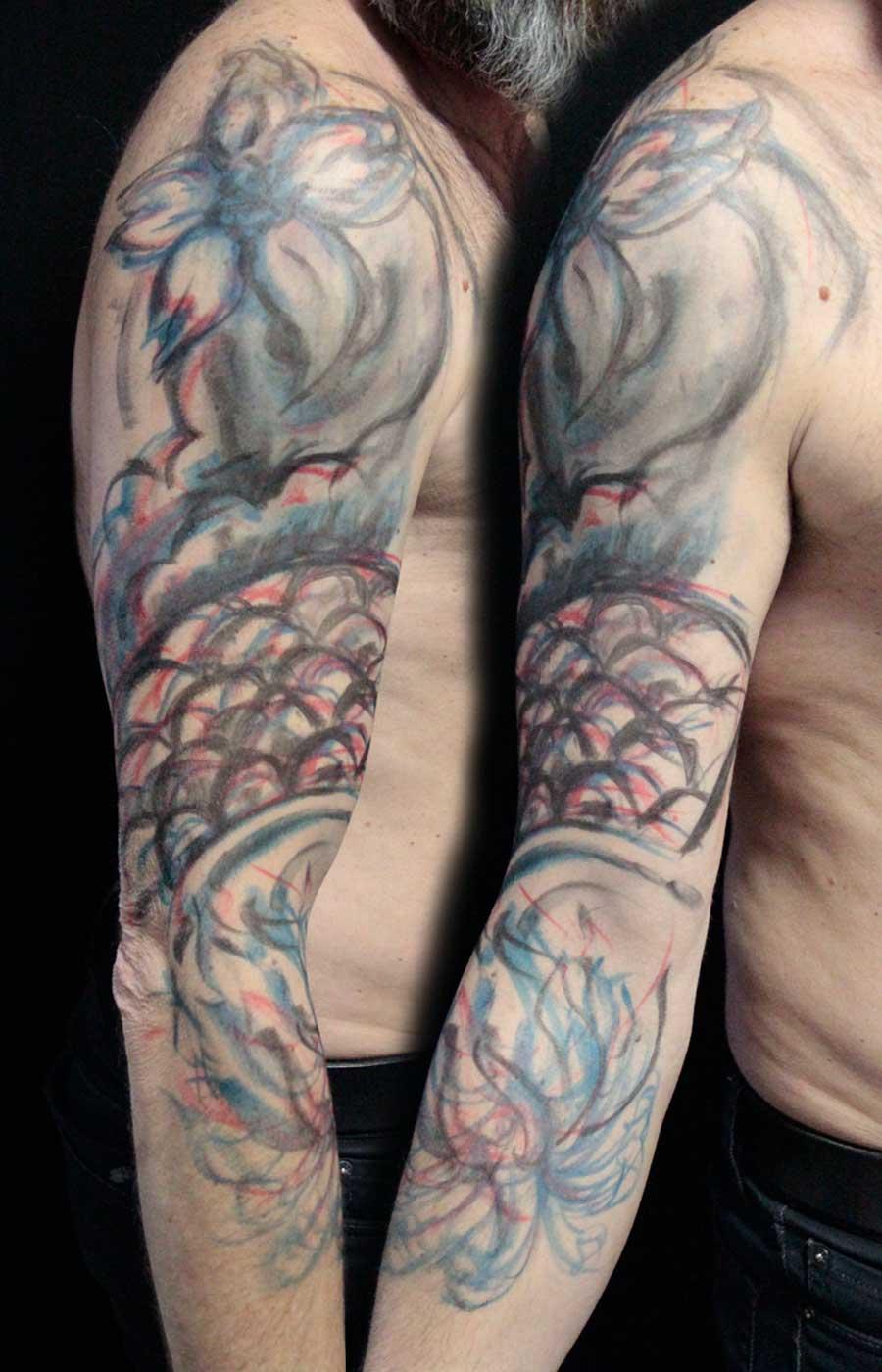 tattoo néojaponais manchette fleurs écailles chrysanthème projet