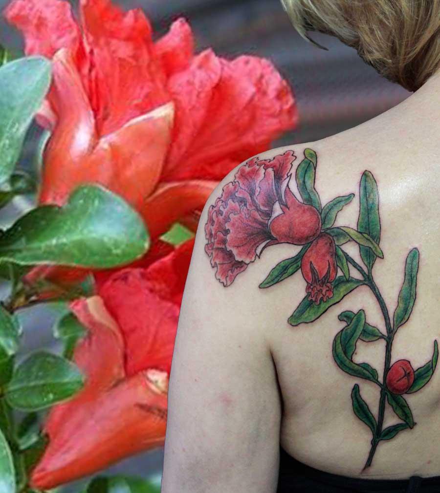 tattoo floral fleur de grenadier couleur